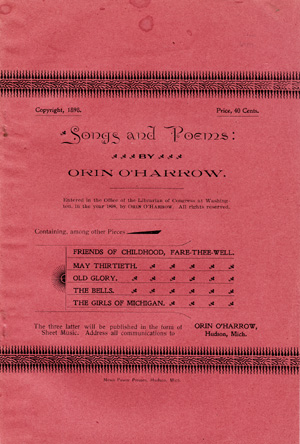 Songs and Poems [wrapper title]. Orin O'Harrow.