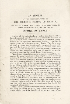 An Address of the Representatives of the Religious Society of Friends, for Pennsylvania, New Jersey, and Delaware, to their Fellow-Citizens, on the Use of Intoxicating Drinks [caption title]. Philadelphia Yearly Meeting of Friends, Orthodox.