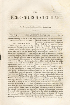 The Free Church Circular . . . Vol. IV. No. 11 [caption title]. Oneida Community, Harriet H. Skinner.