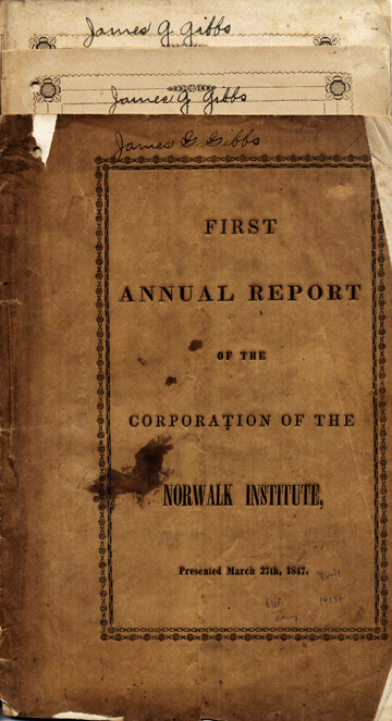 First Annual Report of the Corporation of the Norwalk Institute, Presented March 27th, 1847. Norwalk, O.: S. & C. A. Preston, Printers, [1847]. [With:] Catalogue of the Officers and Students of Norwalk Institute, 1847-8. With the Course of Studies. Milan [O.]: C. Waggoner, Job Printer, 1848. [With:] Catalogue of the Officers and Students of Norwalk Institute, 1848-9. With the Course of Studies. Ohio, Norwalk Institute.