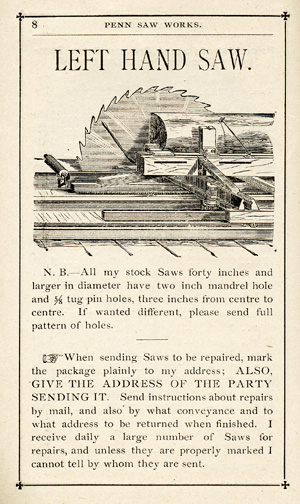 Penn Saw Works. E. T. Lippert . . . Reduced Price List and Catalogue of Saws, Saw Mandrels, Gummers, Emery Wheels, and Saw Mill Supplies Generally. E. T. Lippert.