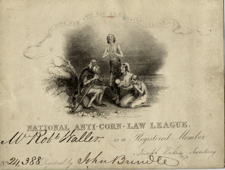Engraved membership card for the National Anti-Corn-Law League, completed in autograph ink for Mr. Robt. Waller, member 24,388 and endorsed by Manchester anti-Corn Law activist John Brindle. Anti-Corn-Law League.