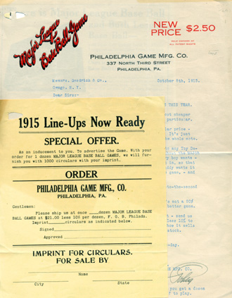 "Printed circular addressed to a retail store, with two additional leaves of advertising material for Philadelphia Game Mfg. Company's ""Major League Base Ball Game."" Baseball, Philadelphia Game Mfg. Co."