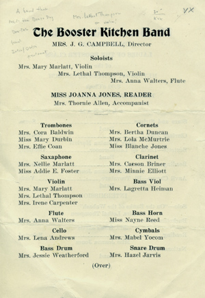 Single leaf program for a performance of the Booster Kitchen Band, May 13, 1921. Popular Entertainments, Ladies of the Booster Class of the Methodist Episcopal Church.