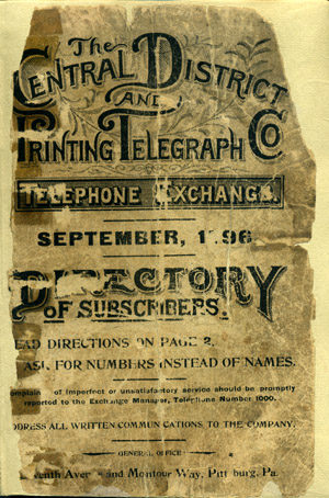 List of Subscribers, September, 1896. Central District, Printing Telegraph Co.