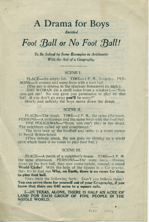 A Drama for Boys Entitled Foot Ball or No Foot Ball! To be Solved by Some Examples in Arithmetic with the Aid of a Geography [caption title]. Communism for Children.
