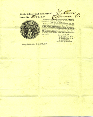 """Printed circular with blanks completed in autograph, """"To the Officers and members of [Lebanon, O.] Lodge No. [15], I. O. O. F. . . . Sidney, Shelby Co., O., April 20, 1847."""" Odd Fellows."""