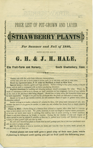Price List of Pot-Grown and Layer Strawberry Plants for Summer and Fall of 1880, Grown and For Sale by . . . [caption title]. Trade Catalogue, G. H. Hale, J. H. Hale.
