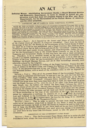 An Act Defining Money, establishing Government Banks, a Rapid Message Service and Executive Department, to have in charge in future all construction work that does not properly belong to the War and Navy Departments, for the Government of the United States of America . . . [caption title]. James M. Gale.