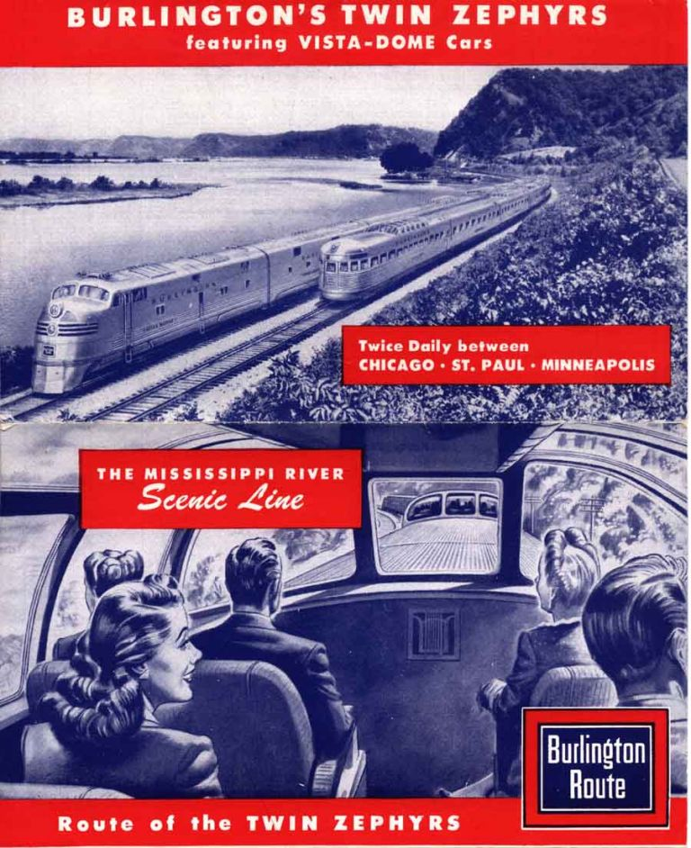 The Mississippi River Scenic Line. Route of the Twin Zephyrs . . . [wrapper title]. Burlington Chicago, Quincy Railroad.