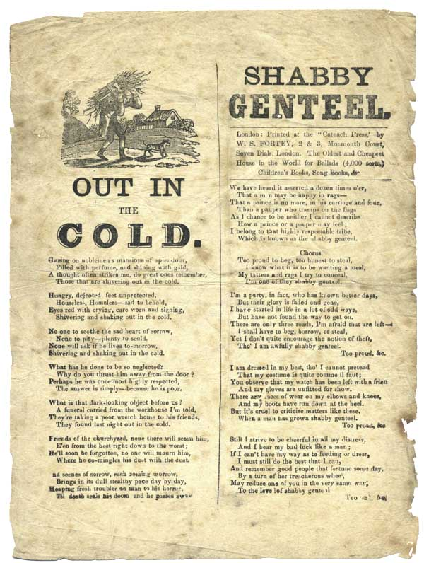 Out in the Cold. [With:] Shabby Genteel . . . [caption titles]. Catnach Press.