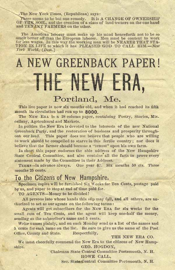 A New Greenback Paper! The New Era, Portland, Me. . . . [caption title]. Greenback Party.