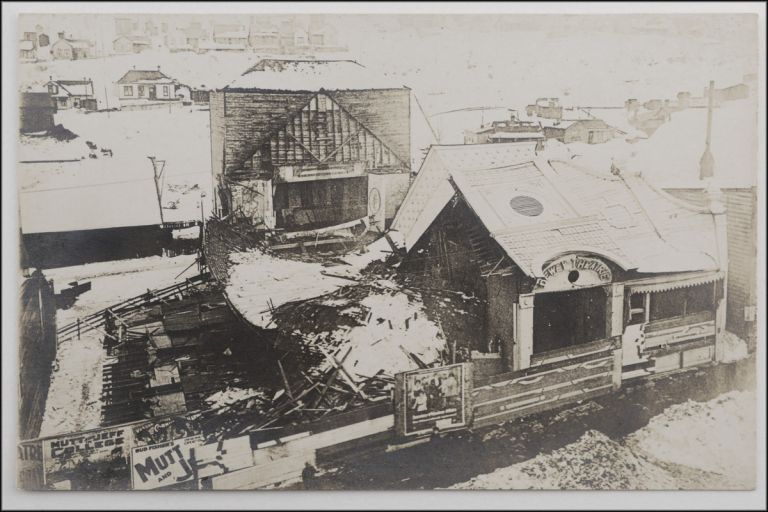 Real photo postcard, and aerial view of the wreckage of the Dewey Theatre in Park City, Utah after its collapse under a heavy snowfall in January, 1916. Photography, Utah, Cinema.