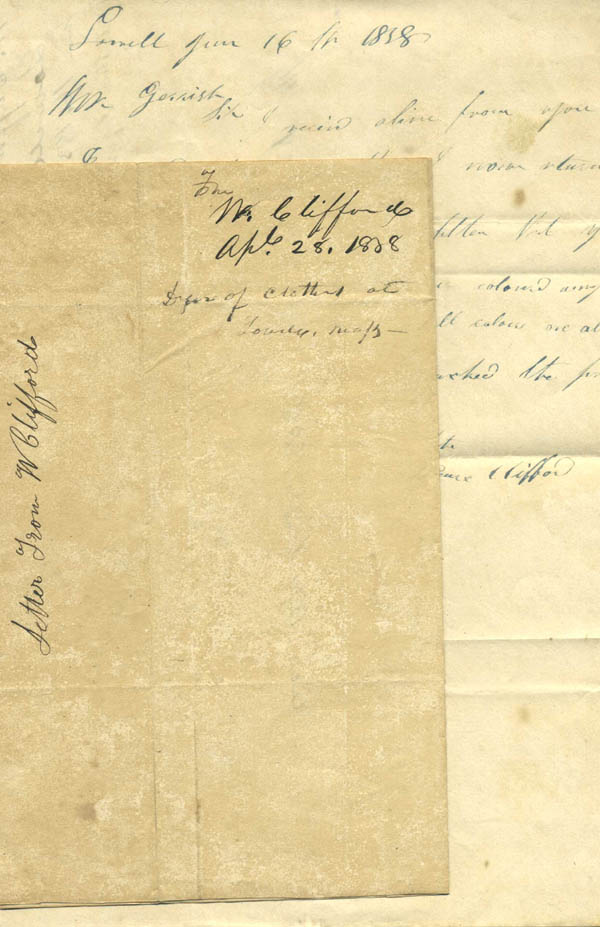 Two autograph notes, signed, from clothes dyer W. Clifford to Robert F[ollett] Gerrish of Portsmouth, N. H., regarding an order of clothes for dyeing. Textiles, W. Clifford, Pearce?