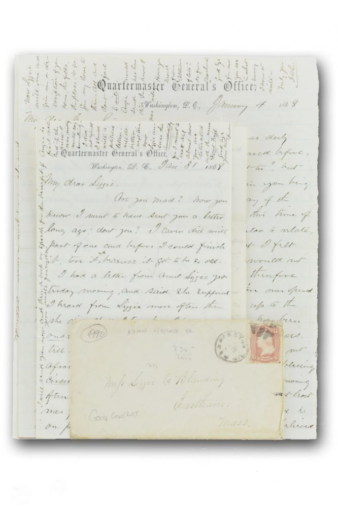 Two autograph letters, signed, from the Quartermaster General's Office, to Lizzie C. Blanding in Eastham (Cape Cod), Mass. Reconstruction, Draper C. Smith.