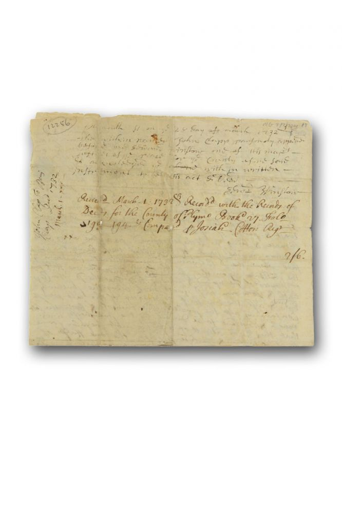 Manuscript deed conveying a tract of land in Rochester, Plymouth County, Massachusetts to Benjamin Clap (Clapp), endorsed by Indian missionary Josiah Cotton as Register of Deeds. Massachusetts Plymouth County, Josiah Cotton.