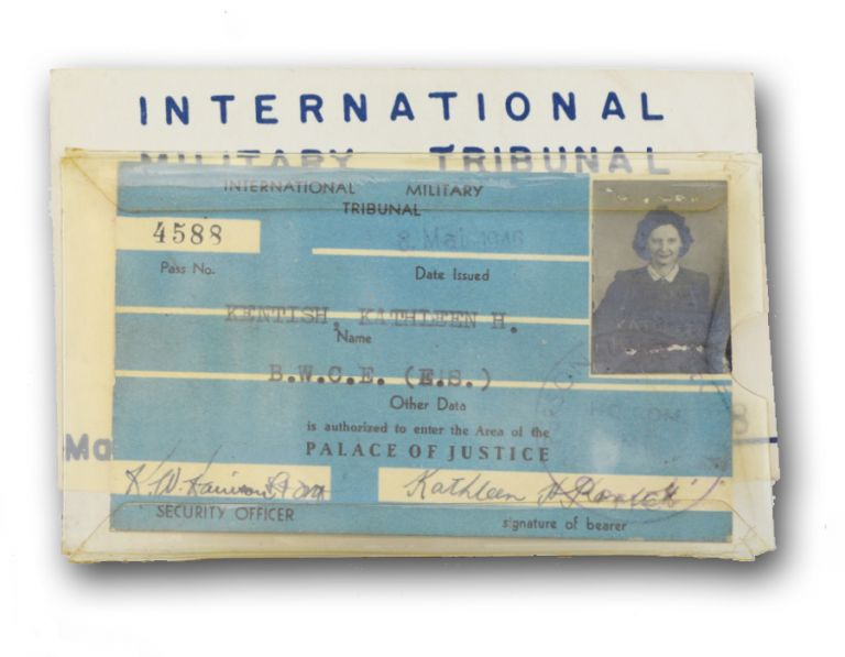 International Military Tribunal identification card and pass. Judgement at Nuremberg, Kathleen H. Kentish.