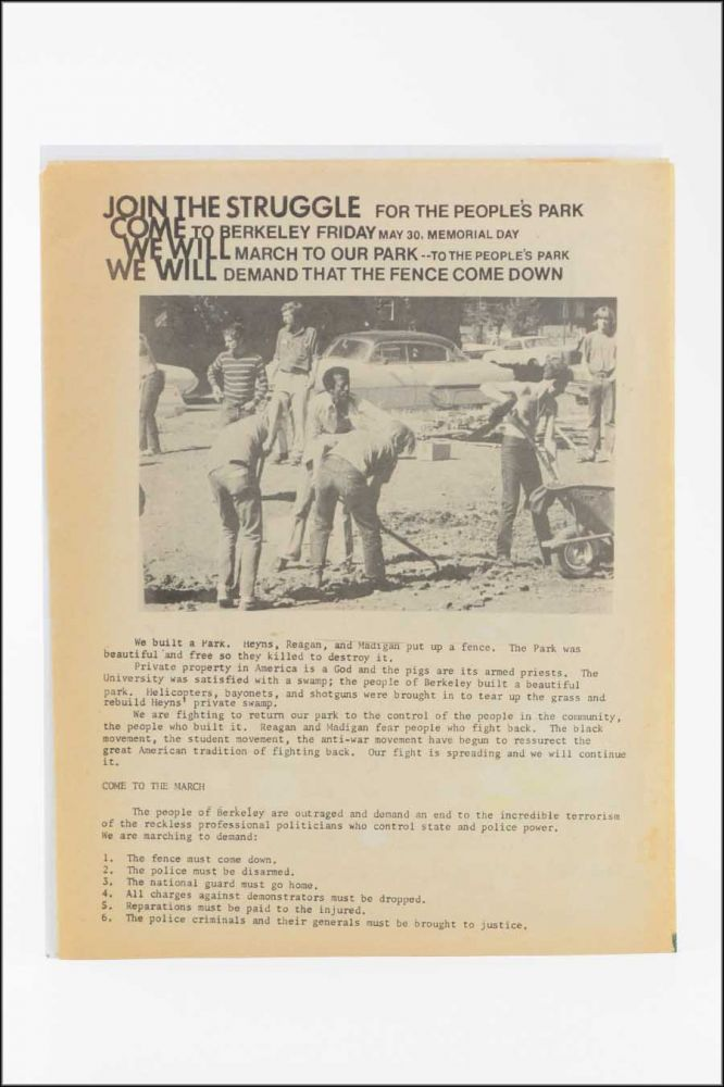 "Join the Struggle for the People's Park. Come to Berkeley Friday May 30, Memorial Day . . . [caption title; with:] Join the Struggle for the People's Park [variant with three paragraphs of text and an illustration of a fence labeled ""Prague, Calif. no admittance.""]. Berkeley, Radical."