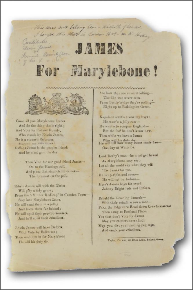 James for Marylebone! [caption title]. Class Warfare, Edwin James, Fashion, Campaign Songs.