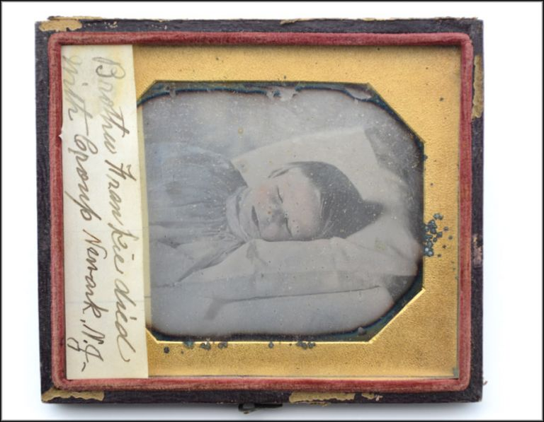Touching cased sixth-plate daguerreotype post-mortem portrait of a young boy. Photography, Post-Mortem.