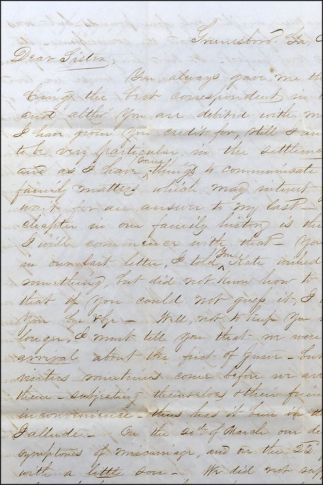 Autograph letter, signed E. M. Allen, to his sister Abby M. Hiller (Abigail Maxey Allen Hiller). Grief, Eliab Metcalf Allen, Infant Mortality, Dentistry.