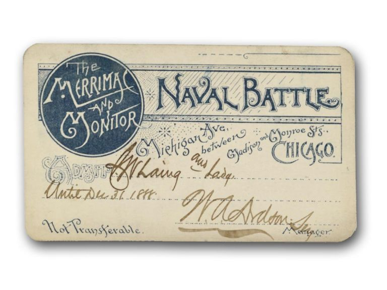 The Merrimac and Monitor Naval Battle . . . [printed ticket or press pass]. Civil War, Entertainment.