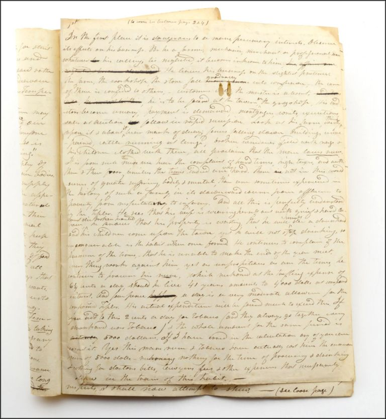 """Autograph manuscript, with the title in ink autograph docketed on the verso, """"Address delivered in The Revd. Mr. Putnams Meeting-house, Dunbarton. February 1834."""". Temperance, M. D.? Reuben D. Mussey."""