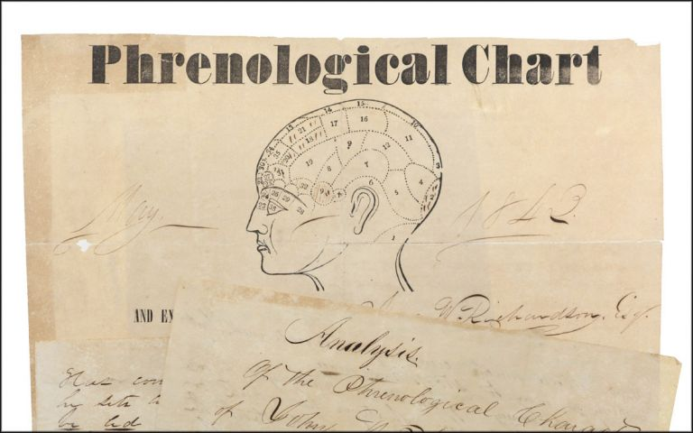 "Phrenological Chart and Examination of the Cranium of Jno. W. Richardson, Esq. by H. Lee . . . [caption title; with:] 3-page manuscript, ""Analysis of the Phrenological Character of John W. Richardson Esq. By H. Lee. May, 1842."". Phrenology, H. Lee."