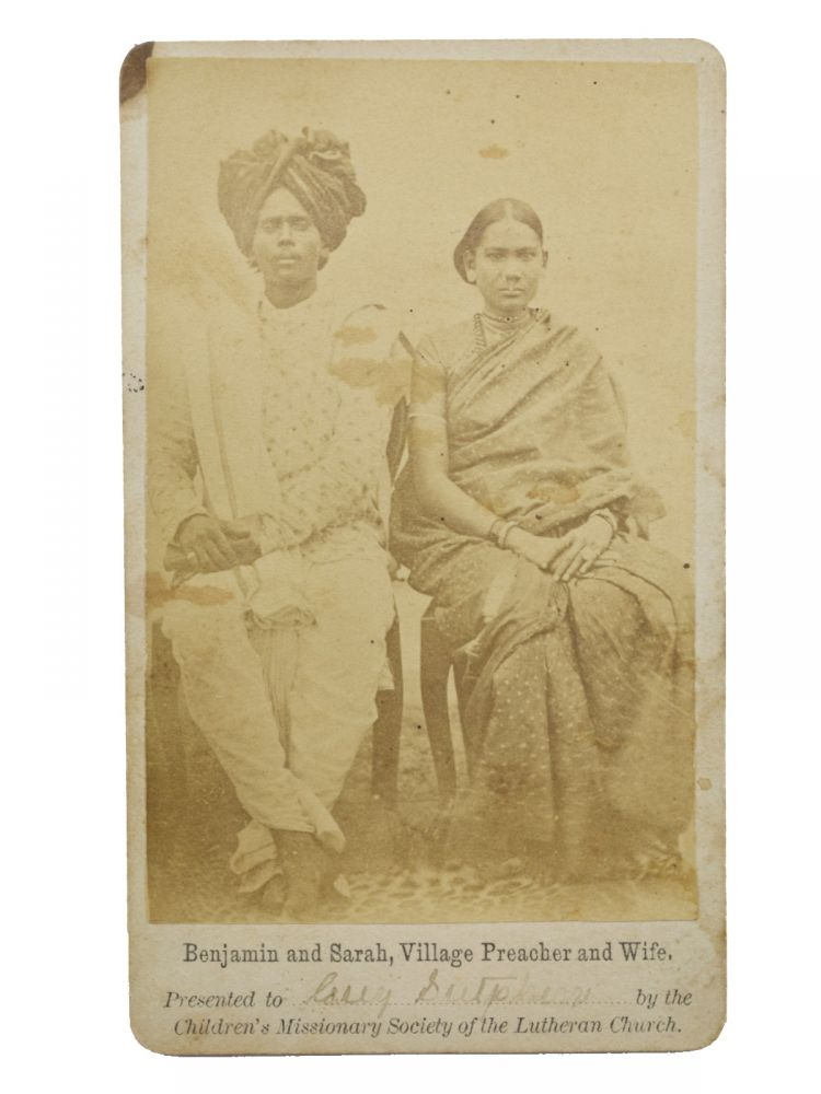 Original promotional carte de visite (CDV) photo of two native Indian missionaries, Benjamin and Sarah, offered as a premium to a member of the Children's Missionary Society of the Lutheran Church. India, Children's Missionary Society of the Lutheran Church, Missionaries.