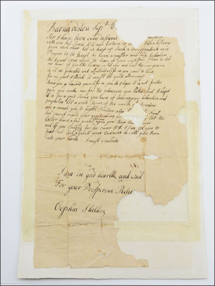 Substantial autograph letter fragment, signed, to Reuben Shattock [i.e., Shattuck], then serving at the siege of Boston during the American Revolutionary War. American Revolution, Cephas Sheldon.