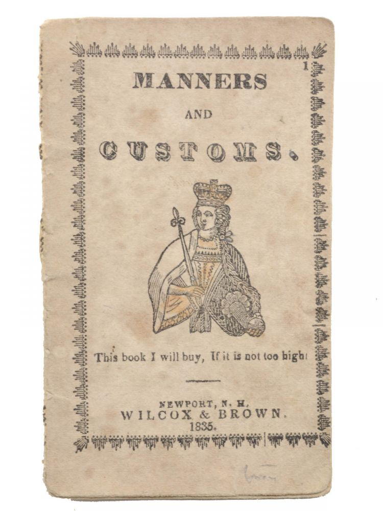 Manners and Customs [self-wrapper title]. Children's Books, Wilcox, publishers Brown.