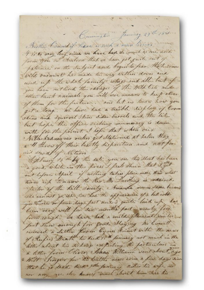 Two autograph letters to Ionia, Michigan pioneer and Massachusetts native Osmond Tower (1811-1886), one from his brother-in-law Arunah Bartlett and sister Amanda; another from his sister Louisa. Michigan, Arunah Bartlett, Amanda Bartlett, Louisa, Massachusetts, Tower, later Dexter Tower.