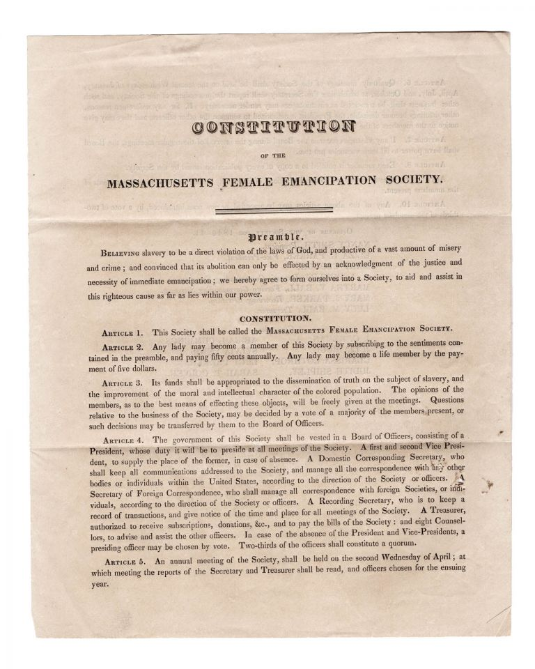Constitution of the Massachusetts Female Emancipation Society . . . [caption title]. Anti-Slavery, Massachusetts Female Emancipation Society, Women.
