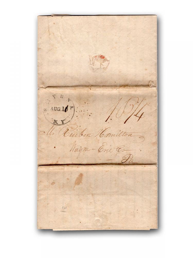 Extensive autograph letter, signed, to Reuben Hamilton in Erie, Penna., recounting a trip from New York State to Chicago and then back through Michigan to New York, extolling the investment opportunities in Michigan land. Michigan, James Leonard, Illinois.