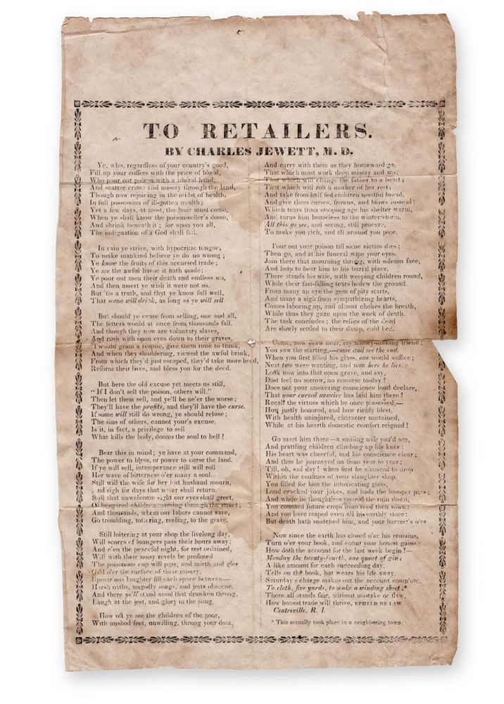 To Retailers . . . [caption title]. Temperance, Charles Jewett, M. D.