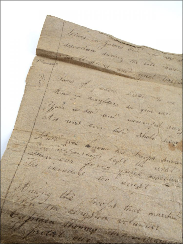 "Manuscript, ""Lines on James Bird who was shot for desertion during the late war between the U. States and great Britain."" American Ballads."