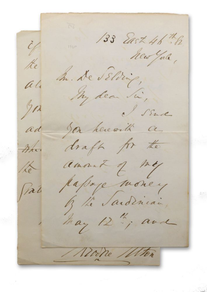 Autograph note in ink, boldly signed by Tilton, to a Mr. De Selding concerning Tilton's passage to Europe on the S. S. Sardinian. Scandal, Theodore Tilton.