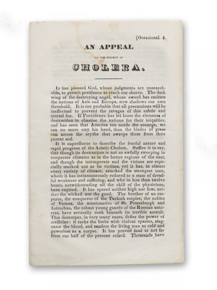 An Appeal on the Subject of Cholera [caption title]. Cholera, Anonymous.