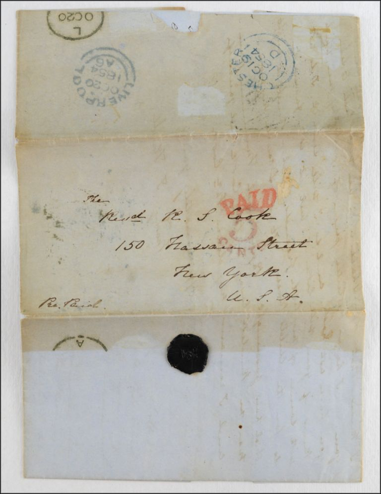 Autograph letter, signed Mary I. Knill, to the Rev. R. S. Cook of the American Tract Society. TRACT TRADE, Mary Isabella Knill.