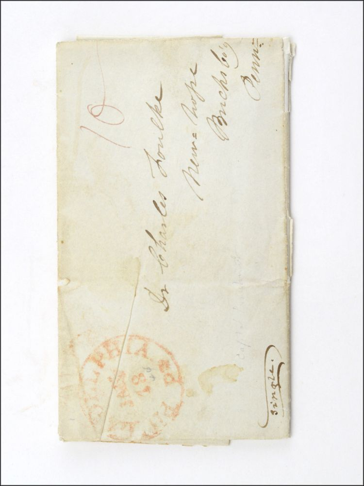 Autograph stampless cover letter, signed by Patterson and Kelley, to Charles Foulke of New Hope, Bucks County, Pennsylvania. CAPITAL PUNISHMENT, Henry S. Patterson, William Kelley.