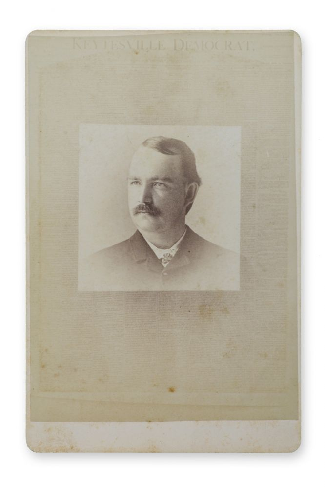 """Cabinet photo portrait of an unidentified man superimposed over the front page of a newspaper with the masthead """"Keytesville Democrat."""". Novelty, Newspapers."""