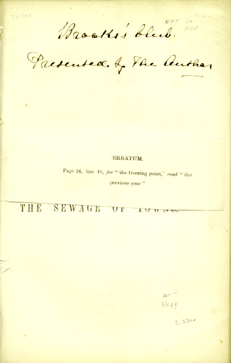 The Utilisation of the Sewage of Towns. John Parkin, M. D.