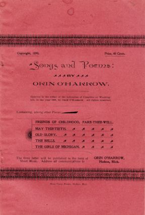 Songs and Poems [wrapper title]. Orin O'Harrow