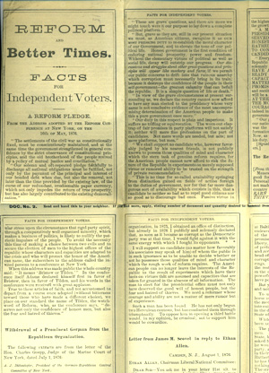 Reform and Better Times. Facts for Independent Voters [caption title]. Samuel Tilden, Parke Godwin