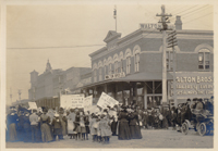 A fine unmounted original photograph of women and children milling about in a small-town temperance demonstration. Temperance.