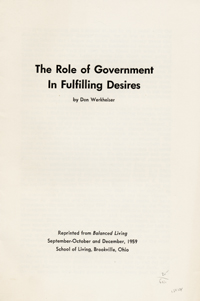 The Role of Government in Fulfilling Desires [wrapper title]. Don Werkheiser.