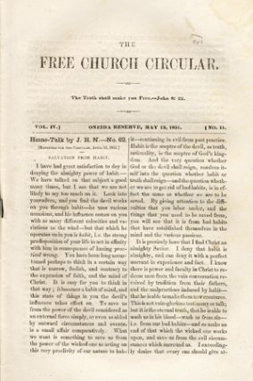 The Free Church Circular . . . Vol. IV. No. 11 [caption title]. Oneida Community, Harriet H. Skinner