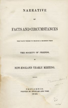 Narrative of Facts and Circumstances that have Tended to Produce a Secession from the Society of...
