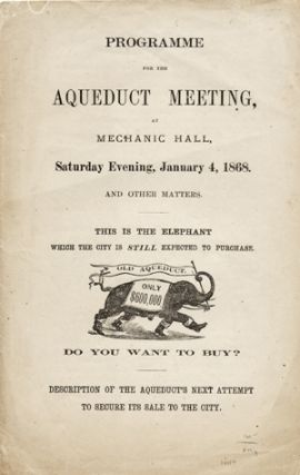 Programme for the Aqueduct Meeting, at Mechanic Hall, Saturday Evening, January 4, 1868 and Other...