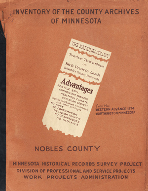 Inventory of the County Archives of Minnesota . . . No. 53, Nobles County. Minnesota Historical...